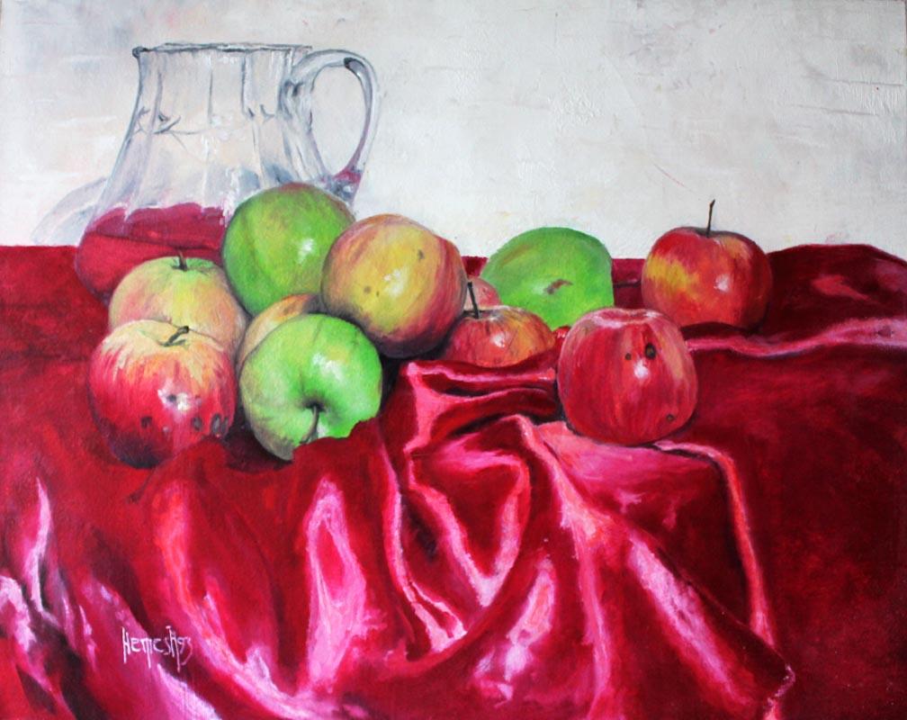 Vjekoslav Nemesh, APLES AND WINE (JABUKE I VINO), oil on canvas, 48 X 38 cm