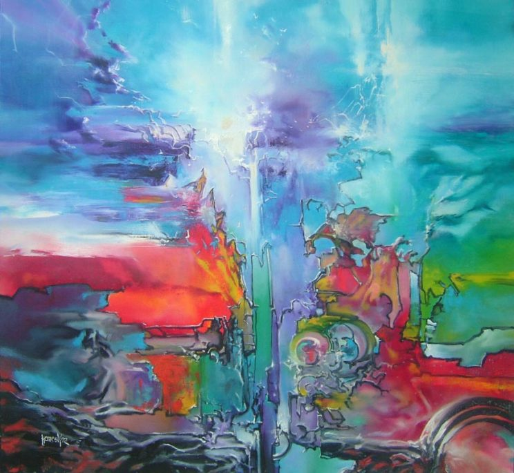 Vjekoslav Nemesh, FLAGS OF THE SKY, 1992, oil on canvas, 100 X 100 cm