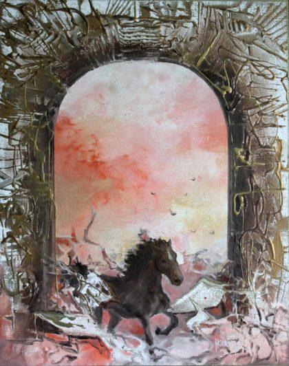 Vjekoslav Nemesh, GOLDEN GATE, 1992, oil on canvas, 55 X 45 cm