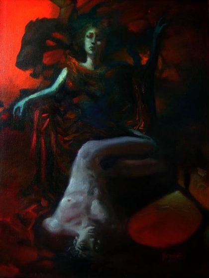 THRONE, 1998, oil on canvas, 65 X 50 cm, unframed