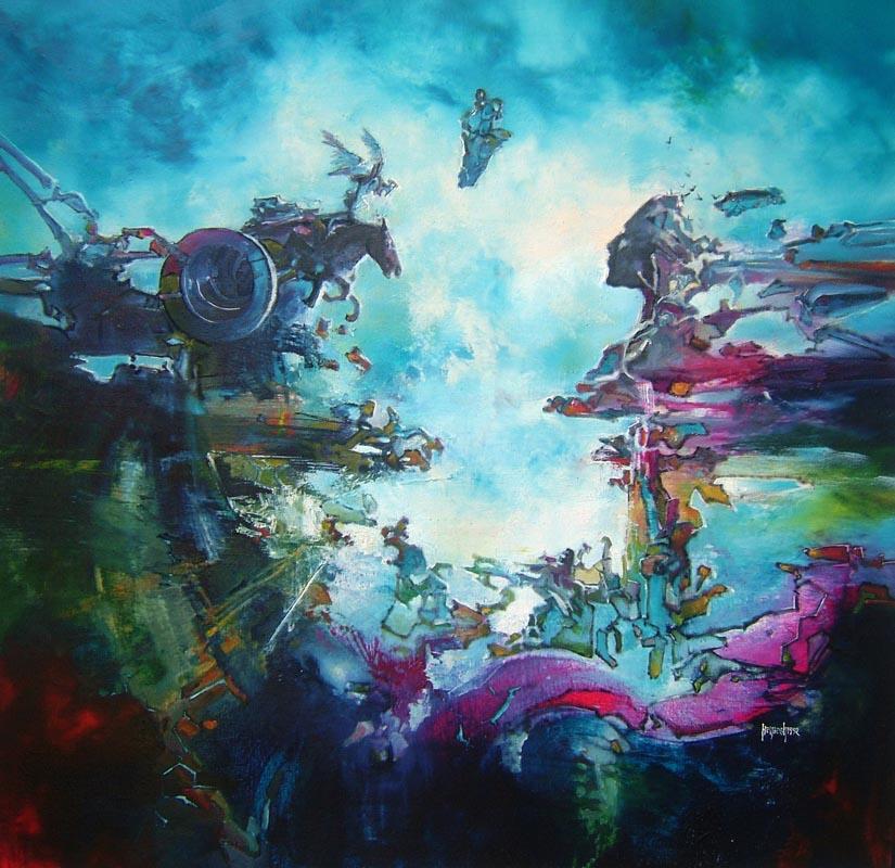 Vjekoslav Nemesh, TIME OF KAMA AND MICROCHIPS, 1992, oil on canvas, 95 X 95 cm