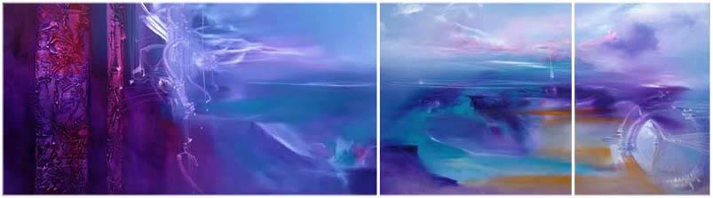 Vjekoslav Nemesh WILD STRING NAUTICA triptuch oil on canvas three panels 84 cm high 250 cm wide