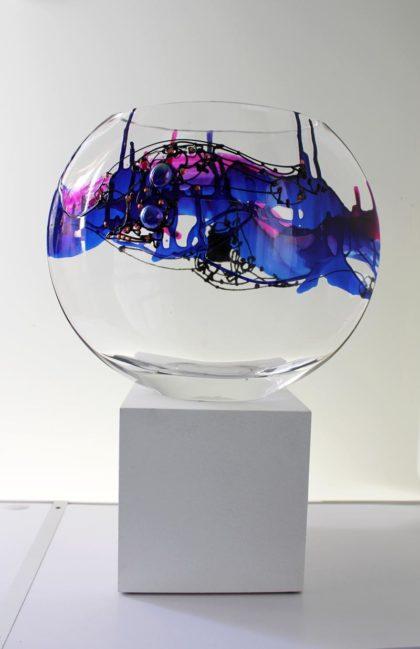 Large Vase, hand painted glass, 25 cm high, 31 cm wide, 9.5 cm deep