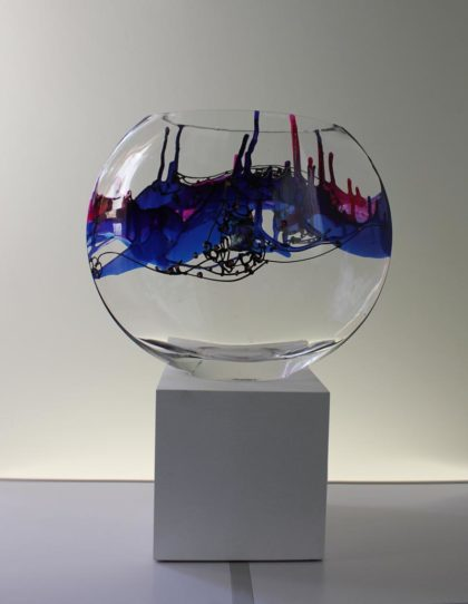 Large Vase, hand painted glass, 25 cm high, 31 cm wide, 9.5 cm deep