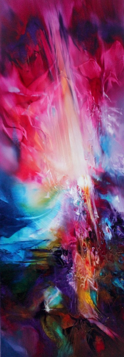 FIFTY SHADES OF MAGENTA, oil on canvas, 122 X 40 cm