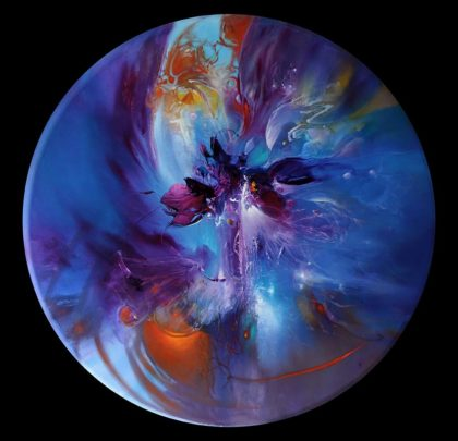 MAGIC ORCHIDS. oil on canvas, 110 cm diameter