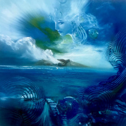 SPIRIT OF WHAKAARI ( White Island), oil on canvas, 50 X 50 cm