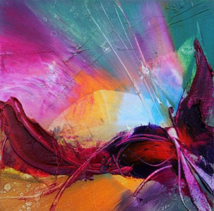 Vjekoslav Nemesh, BUTTERFLY EFFECT I, oil on canvas, 18 X 18 cm