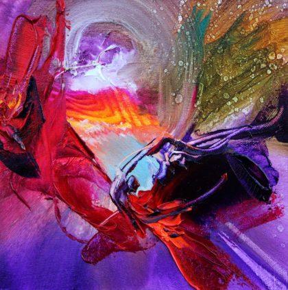 Vjekoslav Nemesh, BUTTERFLY EFFECT II, oil on canvas. 18 X 18 cm