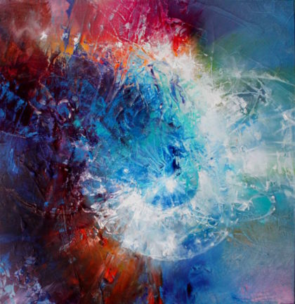 CELESTIAL PARTICLE, oil on canvas, 45.5 X 45.5 cm
