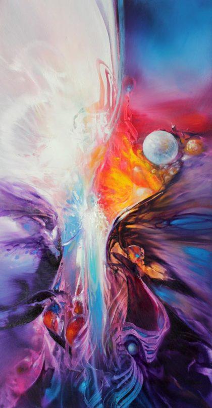 Vjekoslav Nemesh CREATURE OF LIGHT oil on canvas 61 X 30 cm