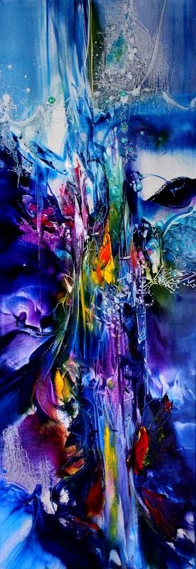 HAPPIER, oil on canvas, 122 X 40 cm