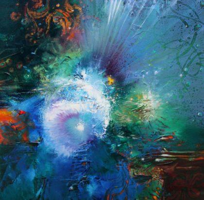Vjekoslav Nemesh, HO'OPONOPONO, diamond shape, oil on canvas, 50 X 50 cm