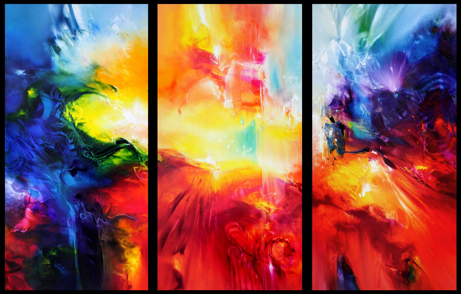 INCREDIBLES, triptych oil on canvas, three panels, 100 X 50 cm each