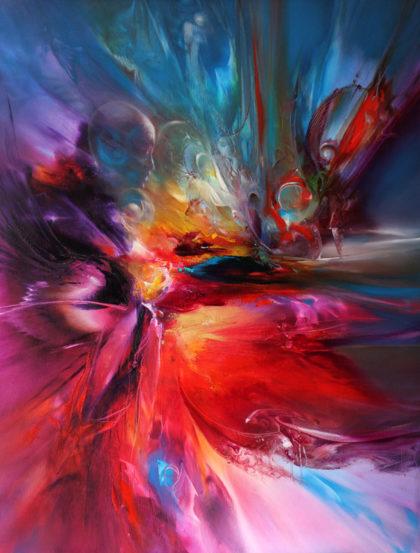 Vjekoslav Nemesh INTERDIMENSIONAL TRAVELLER - oil on canvas 101 X 76 cm