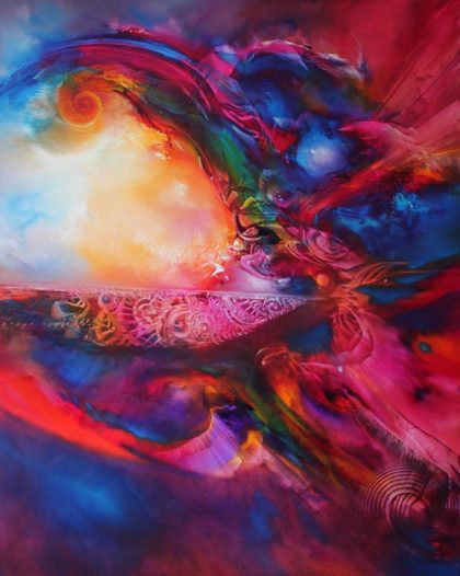 Vjekoslav Nemesh, INTERDIMENSIONAL VOYAGE, 2017, oil on canvas, 152 X 122 cm