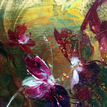 WILD ORCHIDS FROM ANOTHER DIMENSION oil on canvas, 1 5 X 1 5 cm