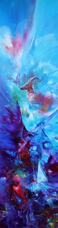 Vjekoslav Nemesh, ZODIAC, oil on canvas, 152 X 38 cm