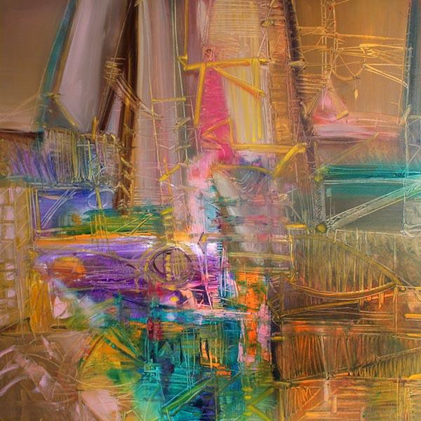 Vjekoslav Nemesh ANCIENT RUMOURS oil on canvas 81 X 81 cm