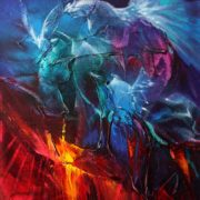 Vjekoslav Nemesh and Anthea Stayt ETHEREAL DRAGONS - oil on canvas 25.5 X 20 cm