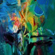 Vjekoslav Nemesh and Wendy Worley MADONNA IN YELLOW WITH LADY BIRD oil on canvas 25.5 X 20 cm
