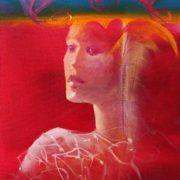 Joanne Gardner and Vjekoslav Nemesh CANDYFLOSS HEARTS oil on canvas 40 X 20 cm