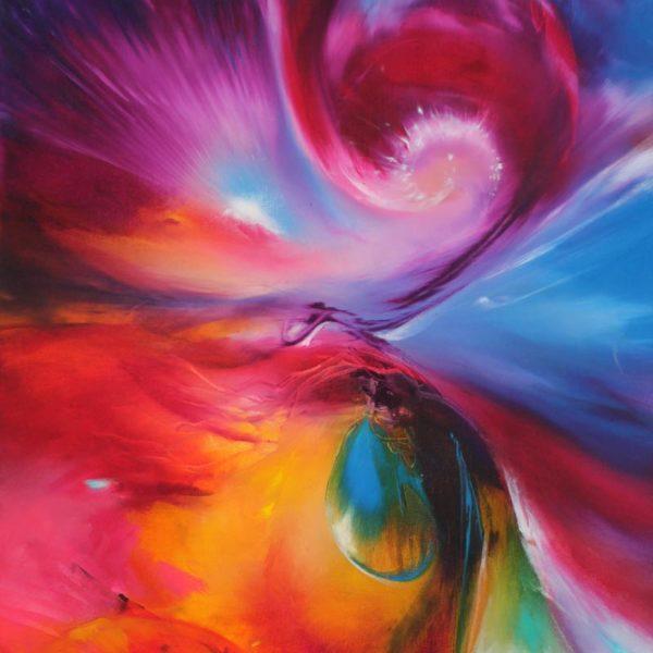 Vjekoslav Nemesh DIFFERENT WORLD oil on canvas 101 X 50 cm DETAIL