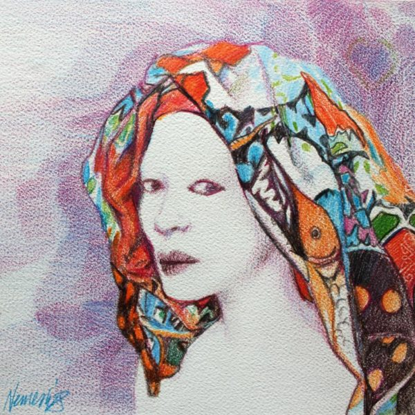 Vjekoslav Nemesh COLORFUL SCARF colour pencil on paper  25 X 28 cm