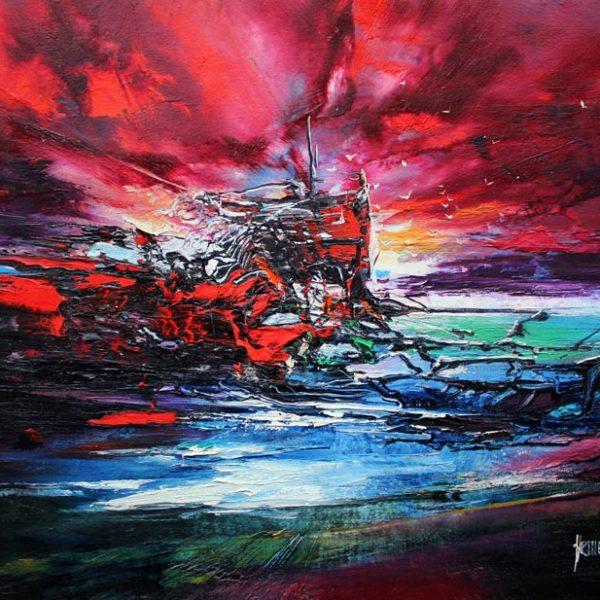 Vjekoslav Nemesh FLAGS IN THE NIGHT1992 oil on canvas 32 X 44 cm