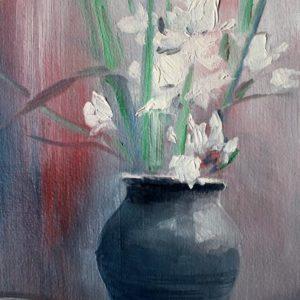 Vjekoslav Nemesh GLADIOLUS oil on canvas 41 X 21 cm