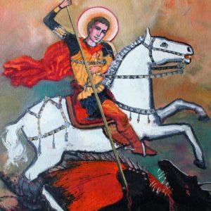 Vjekoslav Nemesh, ST. GEORGE, 1993, oil on canvas, 42 X 32 cm