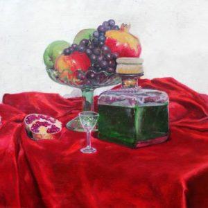 vjekoslav-nemesh-still-life-with-pomegranate-1993-oil-on-canvas-41-x-54-cm