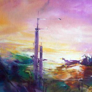 Vjekoslav Nemesh, THE SECOND TOWER, 1996, oil on canvas, 18.5 X 28.5 cm
