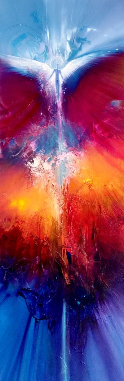 ANGEL, oil on canvas, 122 X 40 cm