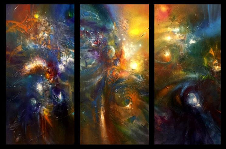 SEVEN WONDERS, triptych, oil on canvas, 102 X 153 cm