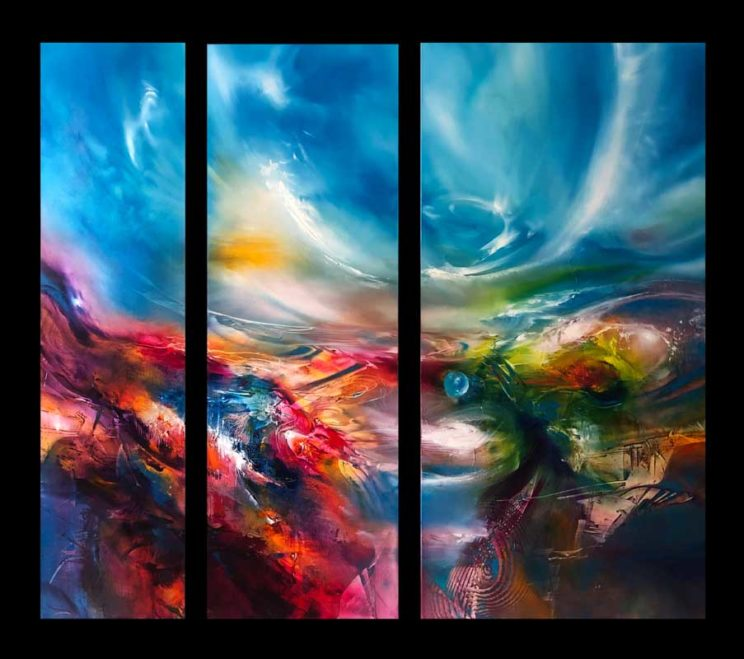 SPECTRAL BLUE, triptych, oil on canvas, 122 X 135 cm