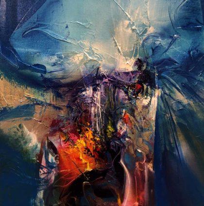 BEHIND THE VEILS, oil on canvas, 44 X 44 cm