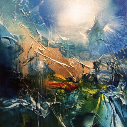 BROTHERHOOD OF LIGHT oil on canvas, 44 X 44 cm