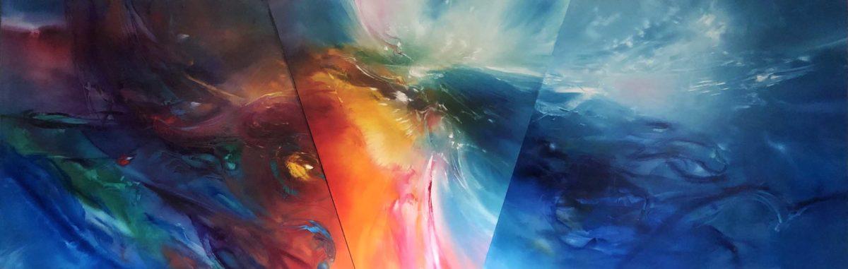 Healer, triptych, oil on canvas, 77 X 242 cm