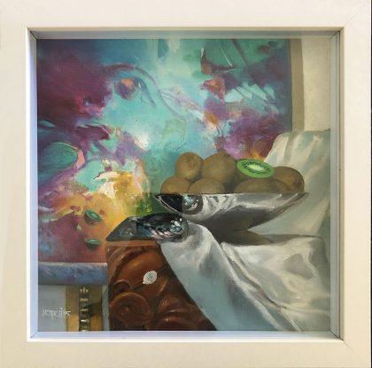 FULL DISH OF KIWIFRUIT, 1995, oil on linen