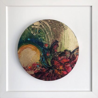 WILD ORCHIDS FROM ANOTHER DIMENSION VI  oil on canvas, 20 cm diameter in 30 X 30 cm frame