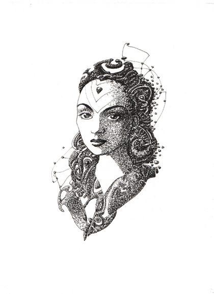 AIDA, mixed media on paper, 29 X 20 cm
