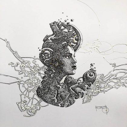 ORNAMENTAL mixed media on paper, 30 X 30 cm