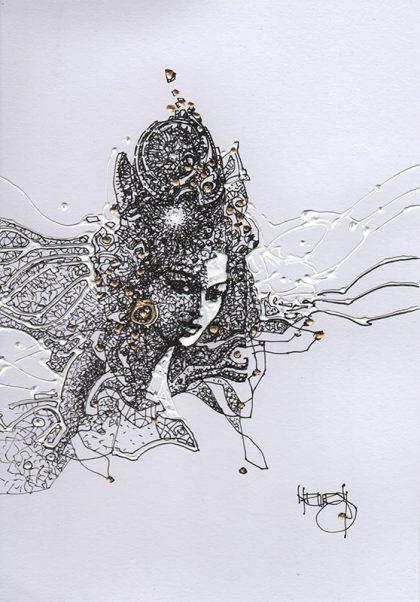 STAR IS BORN II, mixed media on paper, 20 X 15 cm